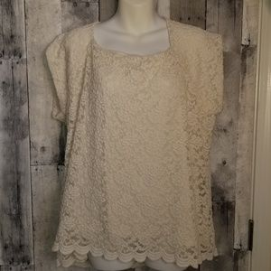 Coldwater Creek lace blouse size 2x 20/22w